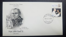 O) 2005 GRENADA, POPE JOHN PAUL II  1920-2005  AND LECH WALESA - SCOTT A623, FDC XF - Grenada (1974-...)