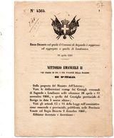 1868  DECRETO COL QUALE IL COMUNE DI SAGUEDO  E' SOPPRESSO ED AGGREGATO AL COMUNE DI LENDINARA - Decreti & Leggi