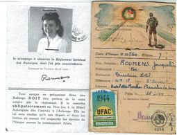 Carte De Membre Des Auberges De Jeunesse 1944- Roumens Jacqueline, Directrice Hôtel Des Roches à PLANCHER Les MINES - - France