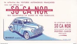BUVARD : Semelles SO CA NOR  Collection Voitures Automobiles Françaises RENAULT 4 Places 4 Cv , Vieille Voiture - Blotters