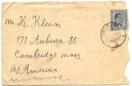 Lithuania 1937 Cover Tryškiai To Cambridge MA, Scott 300 60c. Pres. Smetona - Lituania