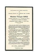 """895.  FRANCOIS CAREZ - Critique Littéraire """"Gazette De LIEGE"""" / Chevalier L'Ordre Léopold - +LIEGE 1921 (58ans) - Devotion Images"""