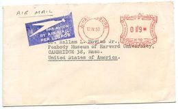 South Africa 1950 Airmail Meter Cover Johannesburg To Cambridge MA Dr. Hallam L. Movius - South Africa (...-1961)