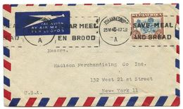 South Africa 1945 Airmail Cover Johannesburg To New York, 2sh6p. Trekking Stamp - South Africa (...-1961)