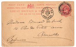 CP De Ipswich (18.12.1902) Pour Bruxelles - Entiers Postaux
