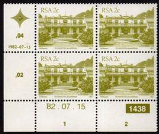 South Africa - 1982 Architecture Definitive 2c Control Block 82.07.15 (**) # SG 512 , Mi 602Ia - Blocs-feuillets