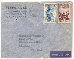 Morocco, French 1953 Airmail Cover Casablanca To Utica NY, Scott 270 & C36 - Marokko (1891-1956)