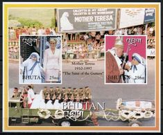 Bhutan 1997, Mother Teresa, Diana, Pope J. Paul II, BF IMPERFORATED - Bhutan