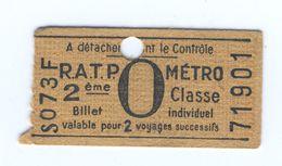 Ticket Métro Parisien Avec Publicité Au Dos IMPERMEABLE VALENTIN - Métropolitain - Europe