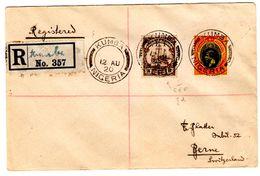 Lettre Recommandée De Kumba_Nigeria (12.08.1920) Pour Berne_Kamerun 3pf_CEF_via Victoria Et BUEA - Nigeria (...-1960)