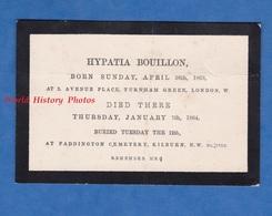 Faire Part De Décés Ancien De 1864 - LONDON - Hypatia BOUILLON ( London , 1863 / Killburn 1864 ) - UK England - Transportation Tickets