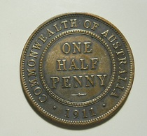 Australia 1/2 Penny 1911 - Sterling Coinage (1910-1965)