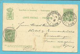 Entier Met Stempel LUXEMBOURG-VILLE En Bijfrankeering Met Stempel DERENDINGEN Bij Aankomst !!!!!!!!!!! - 1895 Adolphe Right-hand Side