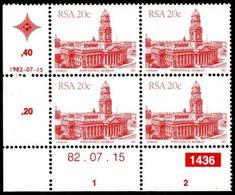 South Africa - 1982 Architecture Definitive 20c Control Block 1436 82.07.15 (**) # SG 522 , Mi 612I - Blocs-feuillets