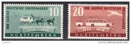 GERMANY - FRENCH Zone - WURTTEMBERG 1949 Stamp Centenary Complete Set Of 2 Values Mint - French Zone