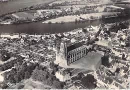 49 - MONTJEAN : Vue Aérienne  Et L'Eglise - CPSM Dentelée Noir Et Blanc Grand Format Postée 1953 - Maine Et Loire - France
