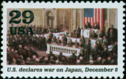 1991 USA World War II Stamp-U.S. Declares War On Japan Sc#2559j Congress Flag WWII - 2. Weltkrieg