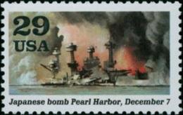 1991 USA World War II Stamp-Japanese Bomb Pearl Harbor, December 7 Sc#2559i Navy Ship Plane Martial WWII - Militaria