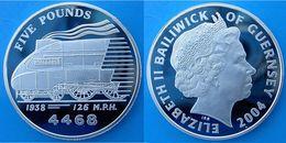 GUERNSEY 5 P 2004 ARGENTO PROOF SILVER MALLARD 1938 126MPH 4468 LEGENDARY TRAINS PESO 28,28g TITOLO 0,925 CONSERVAZIONE - Guernsey