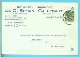 340 Op Kaart Stempel AALST , Hoofding HOPHANDEL-HOUBLONS / C.EENAM-CALLEBAUT Naar Brasseur à GHISTELLES - 1932 Ceres En Mercurius