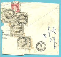 910 Op Brief Stempel BRUXELLES Naar GENT, Beschadigd En Hersteld Strookje ADMINISTRATION DES POSTES Stempel BRUXELLES - België