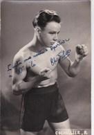 Photo Format Carte Postale  :Boxe Portrait Dédicacé D'un Jeune Boxeur Du Boxing Club De Granville Photo Studio Leroy - Signiert