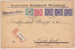 GERMANY 1924 (7.1.) REG.BANK COVER FRANKING PIRMASENS TO U.S.A. (Strupp & Cie, New York) - Germany