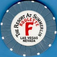 Roulette Casino Chip. Resort At Summerlin, Las Vegas, NV. Table F Blue. K83. - Casino