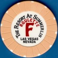 Roulette Casino Chip. Resort At Summerlin, Las Vegas, NV. Table F Yellow. K83. - Casino