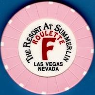Roulette Casino Chip. Resort At Summerlin, Las Vegas, NV. Table F Pink. K83. - Casino