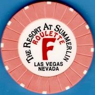 Roulette Casino Chip. Resort At Summerlin, Las Vegas, NV. Table F Orange. K83. - Casino