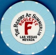 Roulette Casino Chip. Resort At Summerlin, Las Vegas, NV. Table F Light Blue. K83. - Casino