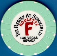 Roulette Casino Chip. Resort At Summerlin, Las Vegas, NV. Table F Light Green. K83. - Casino