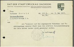 1946  -  Rat Der Stadt Zwickau  -  Ablehnung Einer Zuzugsgenehmigung - Historical Documents