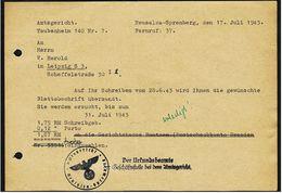 1943  -  Amtsgericht Taubenheim  -  Neusalze-Spremberg  -  Übersendung Der Gewünschten Blattabschrift - Historical Documents
