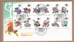 Christmas Island FDC 2014 Year Of The Horse - Zodiac Sheet - Christmas Island