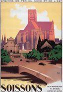 Chemin De Fer Du Nord Et De L'Est Soisson - Postcard Reproduction - Publicité
