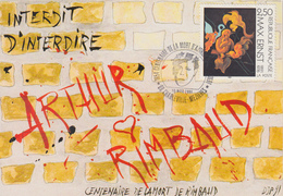 Carte  FRANCE  Centenaire  Mort  D'  ARTHUR  RIMBAUD   CHARLEVILLE - MEZIERES   1991 - Cachets Commémoratifs