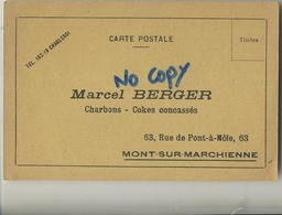 Mont-sur-Marchienne : Marcel Berger : Charbons - Cokes Concassés  ( 2 Scans ) - Zonder Classificatie