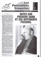 Les Polarophiles Tranquilles  11 Notes Sur Frederic Dard Et Ses Differents Pseudo - San Antonio