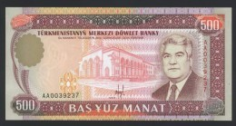 Turkmenistan 500 Manats Note, P7a, UNC AA Serial Prefix 1993 (NO Date) - Turkmenistan