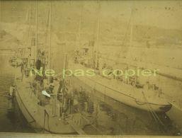 TORPILLEURS Vers 1880 Pourrait être à Toulon Grande Photo D'époque - Boats