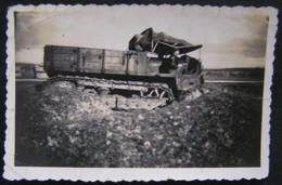 PHOTO ANCIENNE NOIR ET BLANC ANNEES 60 - SNAPSHOT - ARMEE - VEHICULE A CHENILLE - War, Military