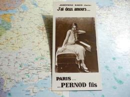 Paris...Pernod Fils Joséphine Baker Chante : J'ai Deux Amours... - Trade Cards