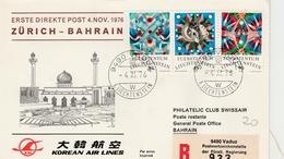 Vaduz Zurich - Bahrain - KAL Korean 1976 -  Bahrein - Erstflug 1er Vol Inaugural Flight - Primeros Vuelos