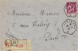 1936- Lettre RECC De  Paris  -RARE  Bureau Auxiliaire Hexag. 63-B  -  Affr. Paix 1,75 -SUPERBE - Marcophilie (Lettres)