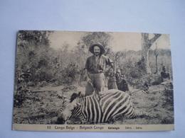 Congo Belge - Belgisch Congo // Katanga // Zebre - Zebra Hunting // Used 1913 With Printed Stamp 5 Green - Belgisch-Congo - Varia