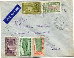 REUNION LETTRE PAR AVION DEPART SAINT-PAUL 13-4-38 REUNION POUR LA FRANCE - Réunion (1852-1975)