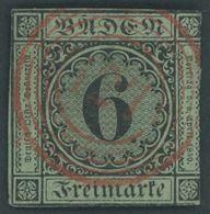 BADEN 3a O, 1851, 6 Kr. Schwarz Auf Blaugrün Mit Zentrischem Roten Nummernstempel 127 (SCHILTACH), Marke Kleine Schnittm - Baden
