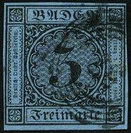 BADEN 8 O, 1858, 3 Kr. Schwarz Auf Blau, Allseits Breitrandig, Kabinett - Baden